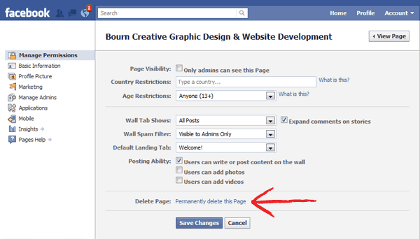 How to delete facebook page permanently with easy steps source bourn creative ccuart Image collections