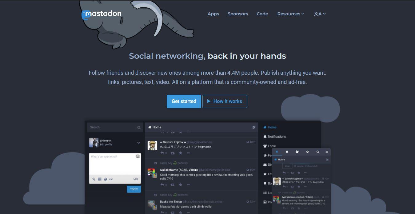 mastodon joining page